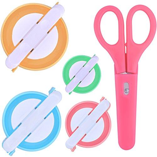Instrumento para hacer pompones, 4 tamaños de aguja para hacer pompones con bolas de lana para tejer, equipo de herramientas con tijeras para coser y tijeras de tela