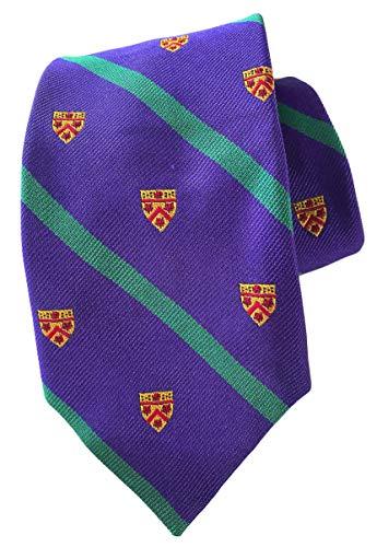 Herren Krawatte, gestreift, gewobene italienische Seide, Lila / Grün
