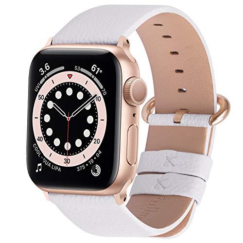 Fullmosa Compatible avec Bracelet Apple Watch 38mm/40mm,Bracelet iWatch Series SE/6/5/4/3, Band Cuir de Remplacement pour Femme Homme 38 mm 40 mm Blanc + Or Rose