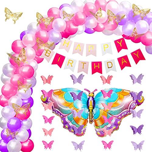 76 Decorazione Festa di Compleanno Farfalla Includi Palloncini Opachi Palloncini Farfalla Ghirlande di Farfalle di Carta Banner Happy Birthday Adesivo Farfalla 3D per Donne Ragazza