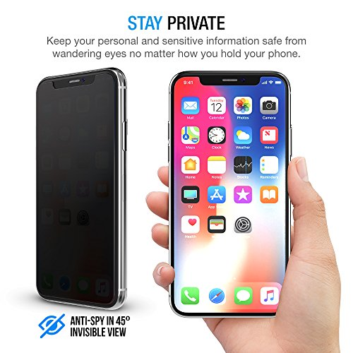 """Maxboost (3 Pack) Privacy Glass Screen Protector Designed for iPhone 11 Pro/iPhone XS/iPhone X (5.8"""") Tempered Glass with Anti-Spy/Scratch/Fingerprint/Case Friendly/Easy Installation"""