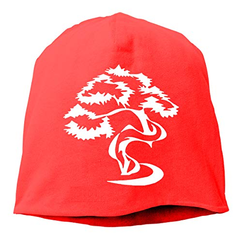 Unisex Fit Knitted Hat, Bonsai Tree Skull Cap for Mens & Womens Red