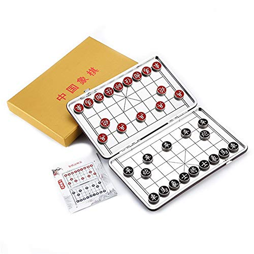 Chinesisches Schach Xiangqi Legierungsmaterial Tragbare Mini Magnetic Folding Chinesisches Schachspiel Kind Erwachsene Lernspielzeug China Nationalen Stil Brettspiele Geschenkbox Reiseset Für Kinder E