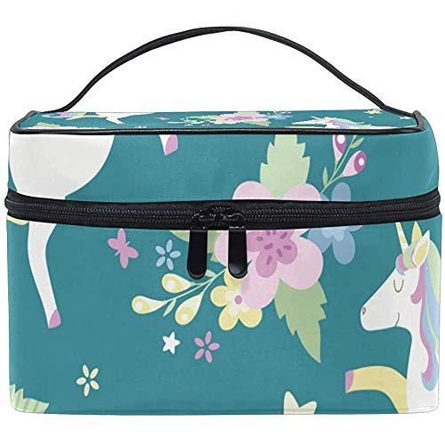 Unicorns Seamless Pattern Makeup Case Cosmetic Bag, Adjustable Makeup Bags Waterproof Toiletry Bag-F2WX-874