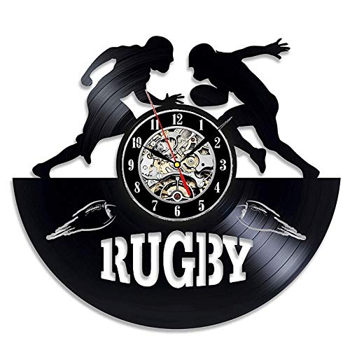 wtnhz LED Colorful vinyl wall clock Retro Vinyl Record Wall Clock Modern Design 3D Decoration Rugby Football Sports Vinyl Clock Wall Watch Home Decoration