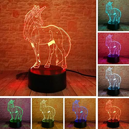 Nndxh 7 Cambio De Color Unicornio 3D Ilusión Led Luz Nocturna Led Mesa De Escritorio Mesilla De Noche Lámpara De Dormir Decoración Del Hogar Niños Niños Regalo De Navidad, Regalo Novedoso