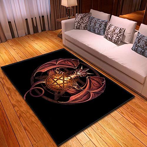 Große Teppiche Für Wohnzimmer Schlafzimmer Innen rutschfeste Weichen Gemütlichen Teppich/Drachen Totem 3-D-Drucken Anti-Slip Klassenzimmer Rechteck Türmatten Home Decor, 120 × 160 cm