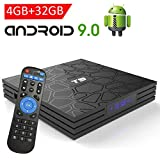 Android TV Box 9.0,EASYTONE T9 Android TV Box 4GB RAM 32GB ROM Quad Core/ 2.4G+5G Dual WiFi/ 64 Bits/ BT4.0/ H.265/ 3D UHD 4K Internet Smart TV Box