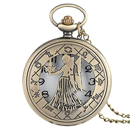 SSJIA 12 Constelación Zodíaco Cuarzo Retro Reloj de Bolsillo Collar de Bronce Colgante Hombres Mujeres-Virgo