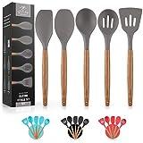 Premium 5 Piece Silicone Utensils Set with Authentic Acacia Hardwood Handles, All Purpose Silicone...