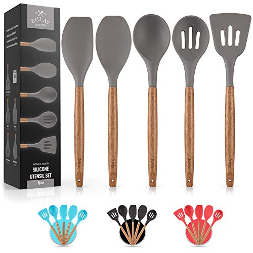 Premium 5 Piece Silicone Utensils Set with Authentic Acacia Hardwood Handles, All Purpose Silicone Spatulas Kitchen Set, Wood Cooking Utensils Set, Non-Stick Cookware by Zulay Kitchen