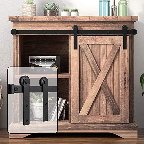 WINSOON 6.6FT Super Mini Sliding Barn Door Cabinet Hardware Kit for Single Door TV Stands Small Wardrobe Cabinets, I Shape Hanger (NO Cabinet)