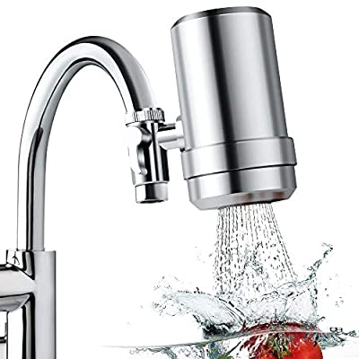 Latest Faucet Water Filter for Kitchen Sink, Premium 304 Stainless Steel Home Tap Mount Water Purifier with 2 Ceramic Filters, 7 Layer Drinking Water Filtration System for Reducing Lead, Chlorine