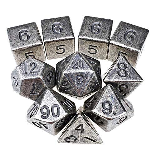 Ancient Metal Dice Set Standard 7 + 3d6's for Roleplaying Games