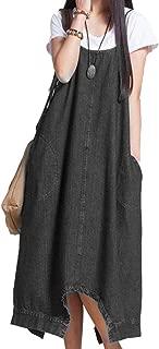 XINHEO Women's Tenths Pants Plus Size Loose Two Way Wear Denim Overalls