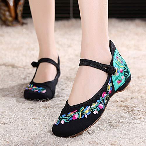 luckyooo Schuhe Bestickte Stickerei Sandalen Damen, Freizeitschuhe Tuch Schuhe Bestickte Schuhe Nationalen Wind ErhöHen in Damenschuhen Tanzschuhe