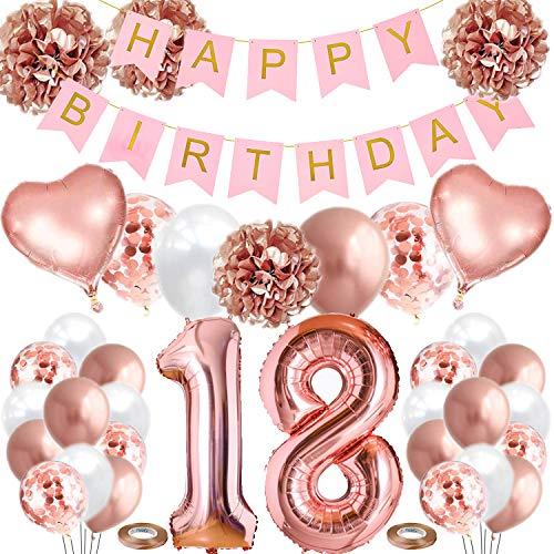 Geburtstagsdeko 18 Rosegold, 18. Geburtstag Mädchen Frauen mit Happy Birthday Banner, 4 Stück Pompoms, Luftballons 18, Luftballons Metallic Rosegold Weiß, Herz Folienballons und konfetti ballons
