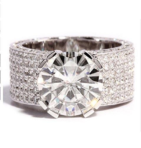 BI COLOR anillo 375er oro rosa oro 9 kilates dos filas con piedra 54 56 58 60