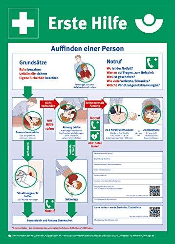 Anleitung zur Ersten Hilfe, Hart-PVC, 400 x 560 mm, Erste Hilfe Schild, Rettungszeichen, 40 x 56 cm