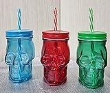 Pack de 3 vasos skull, vasos calavera con tapa de rosca y pajita reutilizable libre de BPA de 430ml