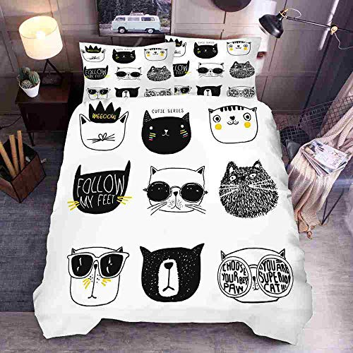 FDCSYP Dekbedovertrekset, 3D-cartoon met schattige kat, dierprint, beddengoed, glad, aangenaam, zacht, eenvoudig te wassen, Queen Twin Quilt zitten, kussenslopen GB-Super King 260cm×220cm