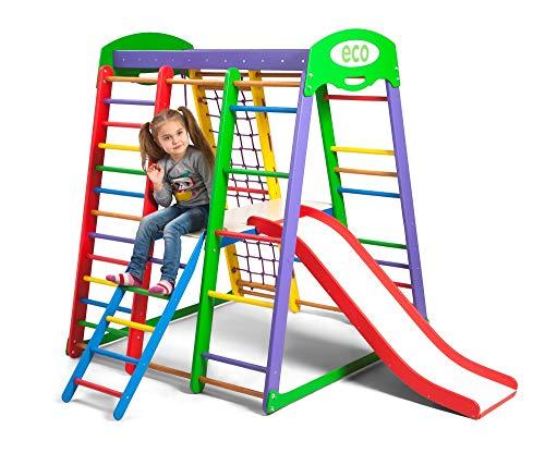 Centro de actividades con tobogán ˝Akvarelka-Plus-2˝, red de escalada, anillos, escalera sueco, campo de juego infantil, Juguetes