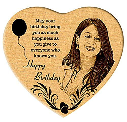 Incredible Gifts India Heart Shaped Wooden Engraved Photo Gift for Wife Birthday Special (5.5 X 6 Inches, Beige)