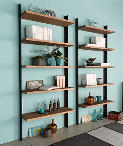 Bibliothèque moderne avec 5 étagères en bois massif et montants en fer