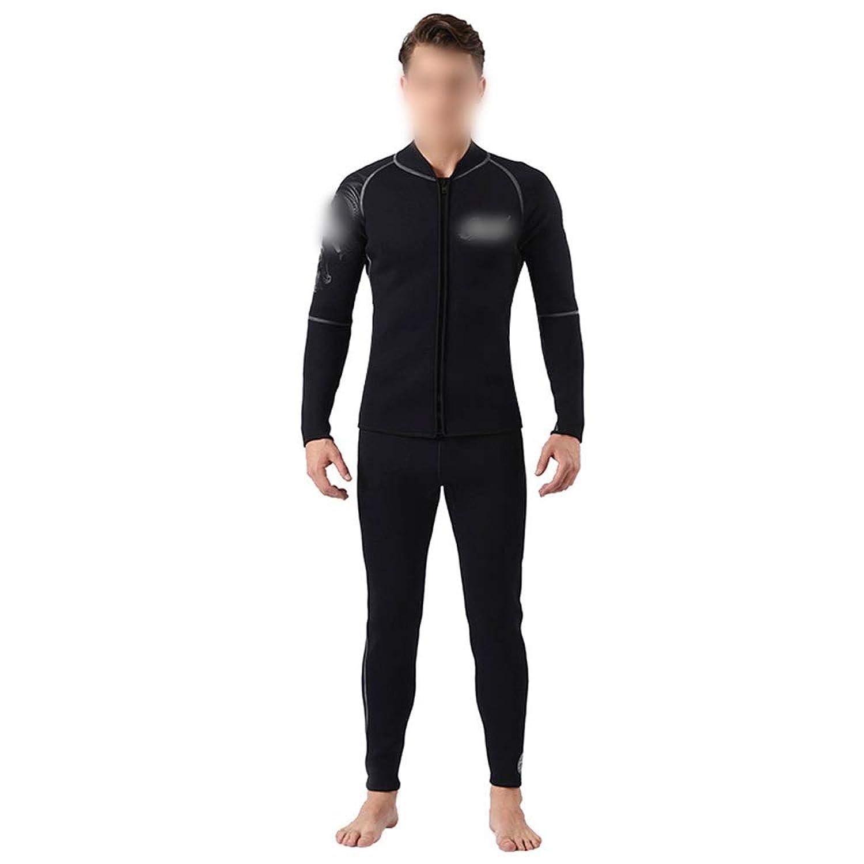 荒波が百貨店を使う プラスライニング3ミリメートルダイビングスーツ防水マザーウェットスーツセット防寒暖かい分割カップルウェットスーツ (色 : 黒, サイズ : M)