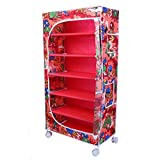 Little One's | 6 Shelves Baby Foldable Wardrobe | Jungle Red (Made in India)