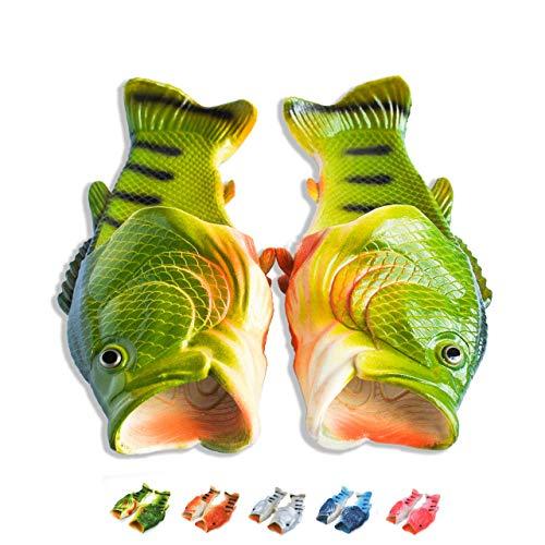 Coddies Sandales Poisson | Les Sandales Poisson Originaux | Cadeau Sympa, Sandales Unisexes, Pantoufles Poisson, Chaussures de Piscine, de Plage et de Douche | Hommes et Femmes (44/45 EU, Vert)