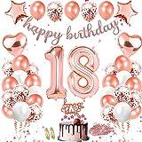 Sunshine smile Decoraciones de cumpleaños de Oro Rosa de 18 años,Globos Oro Rosa, Decoraciones de cumpleaños, Globos de Papel de Aluminio en Forma de corazón,Globos de Confeti, Globos de látex (18)
