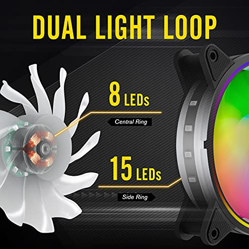 EZDIY-FAB Moonlight 120mm RGB Case Fan with Fan Hub X and Remote,Motherboard Aura SYNC,Speed Control,Addressable Fan for PC Case-6 Pack