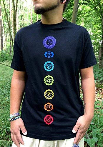 Schwarzes Chakra T-Shirt für Yoga, Meditation mit den 7 Chakren in Regenbogenfarben