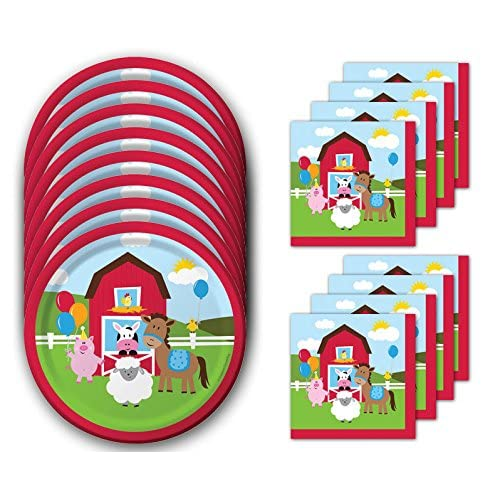 Farmhouse Fun Lunch Napkins /& Plates Party Kit for 8 Creative Converting