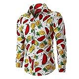 Camisas De Manga Larga Para Hombre - Camisas Funky Aloha Para Hombre - Camisa Tropical Con Botones Camisas Florales Hawaianas De Manga Larga - Camisas De Playa Casuales De Lujo Con Estampado De Pi