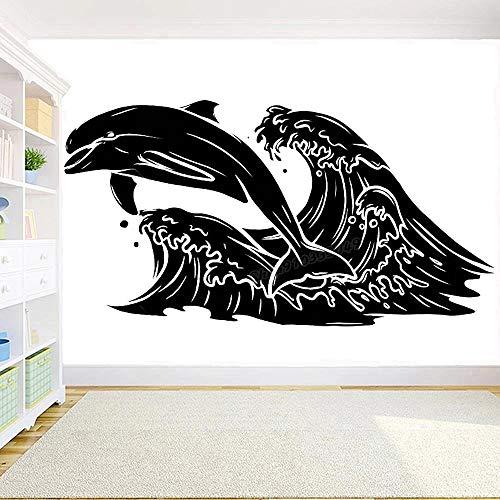WERWN Etiqueta engomada de la Pared del delfín de la Moda Creativa Ocean Rescue Wall Nursery Habitación de los niños Vinilo Arte del hogar