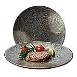 Platos llanos de Porcelana, (juego de 2) Ensalada redonda de cerámica/platos de aperitivo para el hogar y la cocina, platos de cena para frutas, queso, postre, pasta y más (Diámetro 20.5 CM)