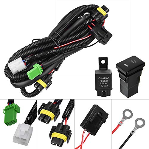 HUIQIAODS H11 H9 880 881 Fog Light Wiring Harness Socket Wire Connector with 40A Relay ON/OFF Switch Kits for Toyota GM Hyundai Accent Elantra Peugeot LED Work Lamp Driving Lights Etc