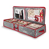 """Underbed Gift Wrap Organizer, Interior Pockets, fits 18-24 Standard Rolls, Underbed Storage, Wrapping Paper Storage Box And Holiday Accessories, 40"""" Long - Tear Proof Fabric"""