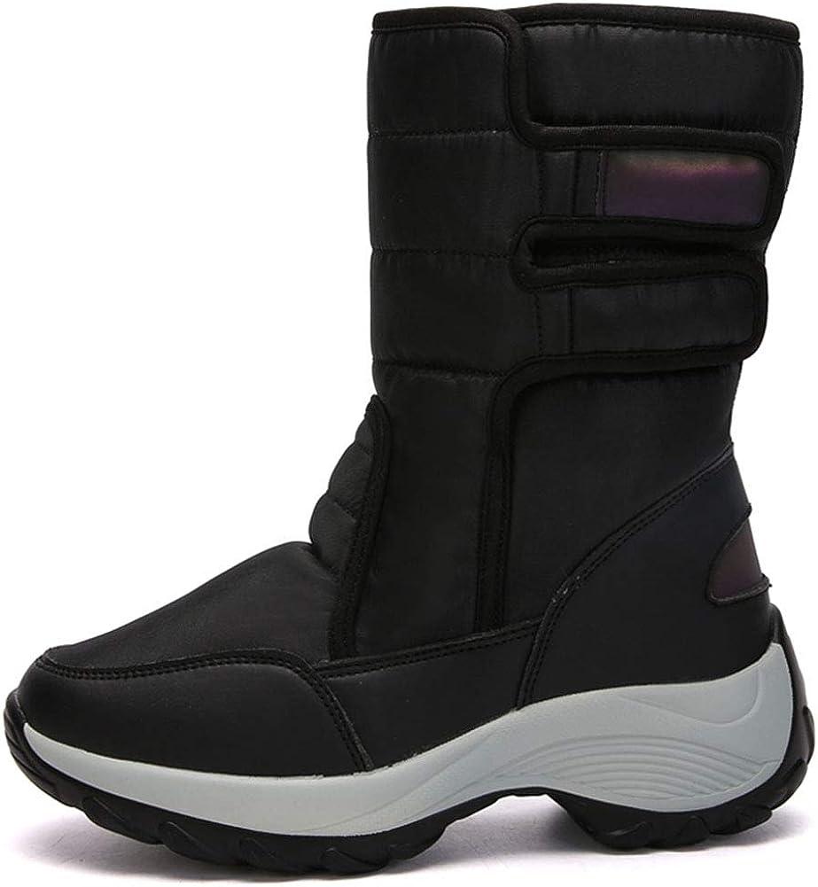 Women's Waterproof Winter Snow Boots, Fur Lined Velcro Mid Calf Platform Warm Boots
