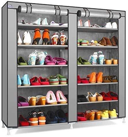 Zapatero Estante no tejido estante sólido tejido de zapatos de color de dos hileras de Gabinete zapatero zapato grande de la capacidad en rack rack de bricolaje muebles de almacenamiento de almacenami