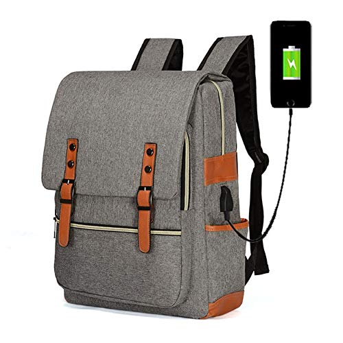 BCXS Travel Laptop Backpack, with USB Waterproof School Backpack Water Resistant School Rucksack Gifts for Men And Women Fits 15.6 Inch Laptop-Grey,Gray