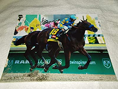 VICTOR ESPINOZA AMERICAN PHAROAH SIGNED 2015 KENTUCKY DERBY 8x10 PHOTO CHAMPION - Autographed Horse Racing Photos