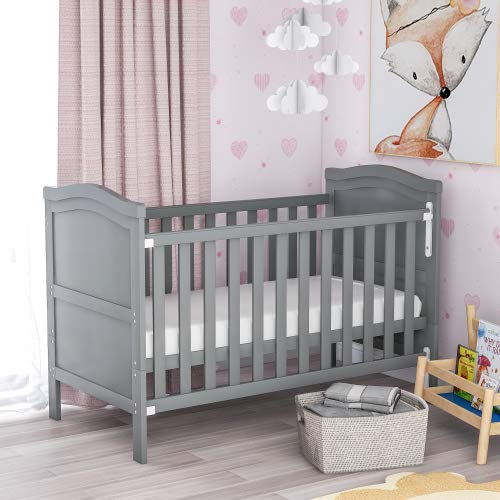 Dalkeyie Solid Wood Baby Cot Bed Toddler Bed with Foam Mattress│Converts into a Junior Bed │Single-Handed Dropside Mechanism│3 Adjustable Position (Grey)