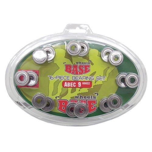 BASE - ABEC 5 Kugellager Bearings inkl. Blister-Verpackung I einfache Montage I ABEC 5 I Kugellager für Inliner & Rollerblades I Standard-Kugellager 608Zz I farblos - 16 Stück