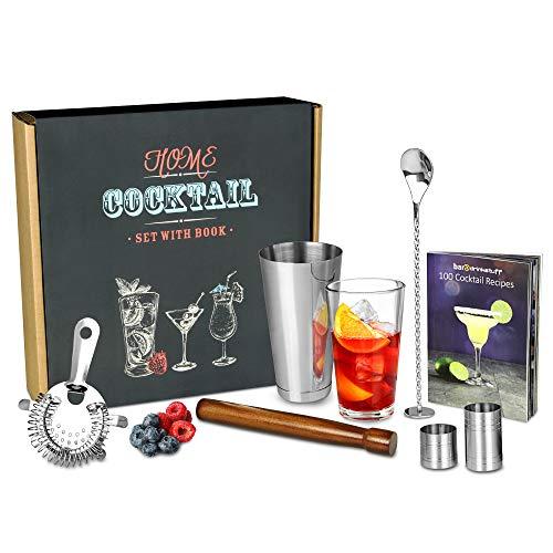 Un kit d'accessoires pour cocktails,contient un Shaker...
