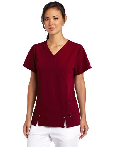 Dickies Damen Xtreme Stretch V-Ausschnitt Scrubs Shirt - Rot - Mittel
