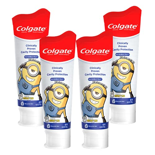 Colgate Kids Toothpaste with Anticavity Fluoride Featuring Minions, Mild Bubble Fruit Gel