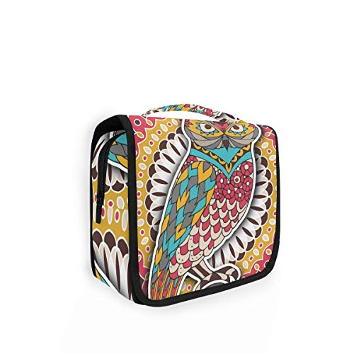 XIXIKO Kulturbeutel zum Aufhängen, Motiv: Arabische indische Eule, Reisetasche, Organizer, faltbar, Kosmetiktasche, Make-up-Tasche für Frauen und Mädchen